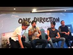One Direction Press conference Madrid...at 0:10 Nialls cough! <3 then when lou wont give niall the mic <3 :')