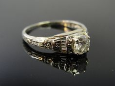 Art Deco Cut Out Filigree Chased Engagement Ring by MSJewelers, $1485.00