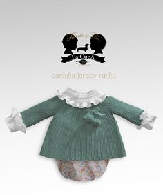 Twins jersey en lana hecho a mano y ranita de flores Knitting For Kids, Baby Knitting, Crochet Baby, Smocking Baby, Couture Bb, Tricot Baby, Vintage Kids Fashion, Baby Chloe, Baby Suit