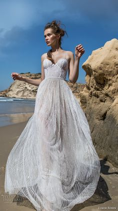 limor rosen 2018 bridal spagetti strap sweetheart neckline full embellishment busiter bodice flowy skirt romantic a line wedding dress sweep train (kate) mv -- Limor Rosen 2018 Wedding Dresses