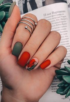 71 Fall Nail Designs to Fall in Love with: Fall Nails to Inspire - Makeup & nail. 71 Fall Nail Designs to Fall i. Dream Nails, Love Nails, My Nails, Cute Fall Nails, Fall Nail Art, Autumn Nails, Minimalist Nails, Fall Nail Designs, Acrylic Nail Designs