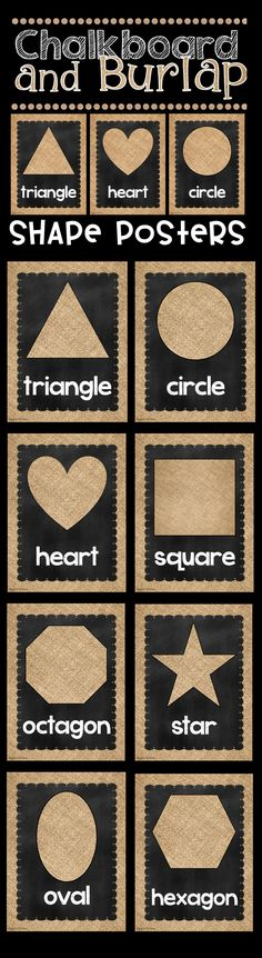 Shape Posters in Chalkboard and Burlap Chalkboard and Burlap Classroom Decor! How gorgeous is this shabby chic decor? I LOVE chalkboard and burlap! I can't wait for Back To School time so I can redecorate my classroom! Reggio Classroom, New Classroom, Classroom Setting, Classroom Design, Classroom Themes, Classroom Organization, Kindergarten Classroom, Preschool Classroom Decor, Classroom Board