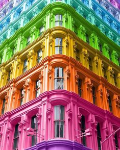 "Graphic Designer Reimagines Iconic Buildings with Kaleidoscopic Colors - Brooklyn-based ""media-agnostic designer"" Ramzy Masri believes in a ""brighter world through d - Colors Of The World, Taste The Rainbow, Over The Rainbow, Rainbow Art, Rainbow Colors, Rainbow Stuff, Rainbow Aesthetic, Colourful Buildings, Painted Ladies"