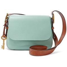 Fossil Harper Small Saddle Crossbody Zb6759116 Color: Sea Glass (205 CAD) via Polyvore featuring bags, handbags, shoulder bags, fossil shoulder bags, fossil crossbody, green purse, green crossbody purse and green handbags