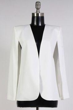Boutique Top S L White Off Open Front Full Lined Casual Career Cape Blazer Shrug #Boutique #CapeBlazer #CasualCareer