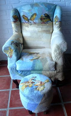 Fibre art. Yellow Finches Armchair. Various threads and fabric with found armchair.