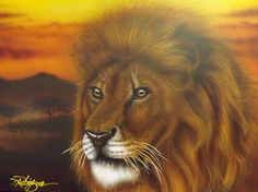 """I was going to call this painting """"The Lion King"""" but that title was already taken sooo...""""Serengetti King"""" is what it ended up being"""