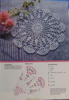 Crocheted motif no. Crochet Doily Diagram, Crochet Doily Patterns, Crochet Mandala, Thread Crochet, Filet Crochet, Crochet Motif, Crochet Shawl, Crochet Flowers, Crochet Scarves