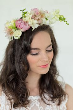 Soft pink, lime and blush flower crown <3 Adele Kloppers Photography http://www.confettidaydreams.com/blush-watercolor-wedding-ideas-brush-lettering/