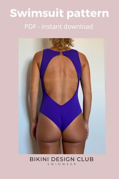 This amazing Swimsuit comes with 2 front options: V neckline or Halter. You choose. Download it in PDF and watch our youtube tutorial to learn how to sew Tanya. Sizes 2 to 24. Swimsuits, Bikinis, Swimwear, Swimsuit Pattern, Learn To Sew, Paper Size, Size 2, Neckline, Pdf