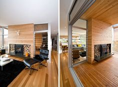 This fireplace, at a home in Hobart, Australia, can be enjoyed indoors and outdoors.  Designed by Room 11 Architects.