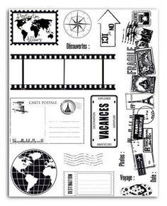 Surtido 15 sellos silicona motivos de viajes