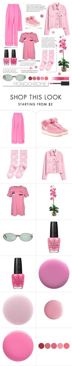 """""""P!nk"""" by eevee996 ❤ liked on Polyvore featuring Natasha Zinko, NIKE, Happy Socks, White Label, Chiara Ferragni, Cartier, OPI, JINsoon, RGB and rms beauty"""