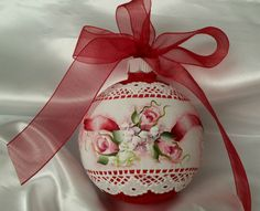 """Hand Painted Red Christmas Ornament Cottage Chic Red Roses Lace HP Glass 3-3/8"""""""