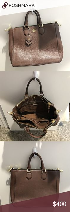 """Brown Tory Burch Tote - Excellent Condition! Brown Leather, Tory Burch Crossbody Tote. Excellent condition, gold hardware. Four different storage areas. Fits 13"""" laptop. Tory Burch Bags Totes"""