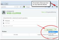 Organizing recipes and meal plans using Evernote ... Part 1