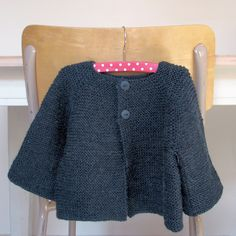 Carrie Bostick Hoge's Annabel Babe cardigan for Sabrina.  http://maddermade.com/patterns/14/