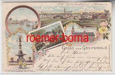 74164 Ak Lithografie Gruss aus Greifswald Post, Hafen usw. um 1900 | eBay