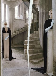 Ann Demeulemeester dress; Cornelia James gloves. Slick down strands with Privé Vanishing Oil.