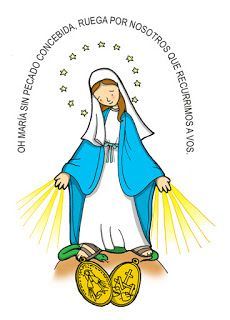 NUESTRA SEÑORA DE LA MEDALLA MILAGROSA Fiesta: 27 de noviembre Dibujos para catequesis I Love You Mother, Mother Mary, Religious Education, Religious Art, Catholic Tattoos, Daughters Of Charity, Mama Mary, Mary And Jesus, Holy Mary