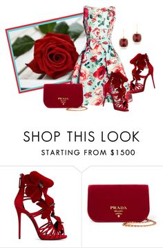 """""""She's In The Rose Garden"""" by sjlew ❤ liked on Polyvore featuring Giuseppe Zanotti, Prada and Anne Sisteron"""