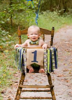 Burlap, Navy Blue & Green Fabric/Ribbon Highchair Banner. This banner is perfect for your little ones birthday party, highchair, photo prop