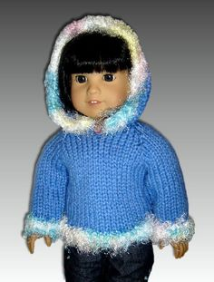 free knit 18 doll patterns | Knitting Pattern Doll Hoodie, fits American Girl and 18 inch dolls ...