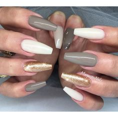 White, gold and grey nails