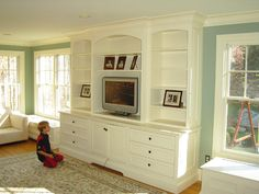 built ins around windows in living room | This is so close to what I'm actually envisioning-