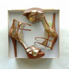 Jaida cutout leather platform sandals shoes Calf leather/ specchio leather, 5.5 inches heel, 1 inch platform,  rubber sole, back zip Michael Kors Shoes Platforms