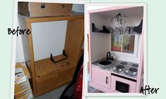 Before and Afters from Twice Lovely An old entertainment center turned into a play kitchen! Such a cool way to repurpose, and ingenious to boot! Repurposed Furniture, Kids Furniture, Painted Furniture, Furniture Design, Kitchen Furniture, Furniture Refinishing, Refurbished Furniture, Furniture Projects, Bedroom Furniture