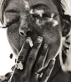 Brett Walker -- Portrait - Freckles - Long Eyelashes - Fashion - Editorial - Black and White - Photography - Pose Smoke Art, Up In Smoke, Photomontage, Freckles Girl, Freckle Face, Light In, Longer Eyelashes, Long Lashes, Fake Lashes