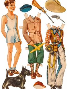 Boy and Scottie paper doll / eBay* 1500 free paper dolls at Arielle Gabriel's International Paper Doll Society for other paper doll Pinterest pals...*
