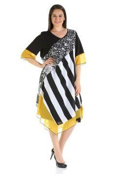 BÜYÜK BEDEN Siyah Beyaz Sarı Elbise 7329