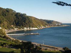 Days Bay Beach ... www.eastbourne.gen.nz New Zealand Beach, Wellington New Zealand, Forest Mural, Kiwiana, Mural Ideas, East Sussex, British Isles, Wander, Beaches