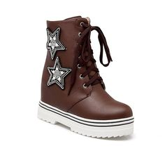 AmoonyFashion Women's High Heels Solid Round Closed Toe Lace Up Boots * Want additional info? Click on the image.