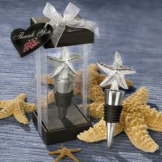 Summer Wedding Favor Starfish Beach Bottle Stoppers Summer wedding favors feature starfish topper wine bottle stopper. By the Sea Starfish Beach party favors feature a wine bottle stopper with starfish top. An exquisite symbol of renewal, regeneration and symmetry, the starfish is always a crowd pleaser. And these bottle stopper favors certainly give the starfish a starring role! Each 4 x x 2 bottle stopper has a sturdy chrome base with a dramatic 3D shiny pebbled resin starfish topper