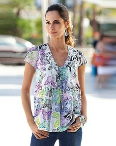 Together Butterfly Print Top | Fifty Plus