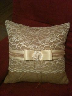 DIY Burlap and lace Pillow. (Minus the trim and bow)