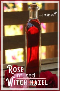 Soothing roses and anti-inflammatory witch hazel combine in this beautiful rose infused witch hazel - perfect to use as a facial toner, for bug bites, acne, sunburn, varicose veins & more!