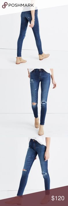 """Madewell High-Rise Skinny Jeans: Ripped & Patched Lean and sexy with a 9"""" rise (right in '70s rock-muse territory), this one's legs-for-days look and supersleek effect come from using some of the best denim in the world.  Premium 92% cotton/5% poly/3% elastane denim from Italy's Candiani mill. A medium dark indigo wash with distressing and hand-placed tears, including an artful rip and repair detail on one knee. Sit above hip, fitted through hip and thigh, with a slim leg. Front rise: 9""""…"""