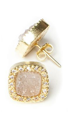 Studds - Natural Druzy by Marcia Moran