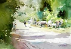 Morning walk - Landscape painting of a bright, sunny morning, in a village, with cows walking to the grazing lands, donw in watercolors