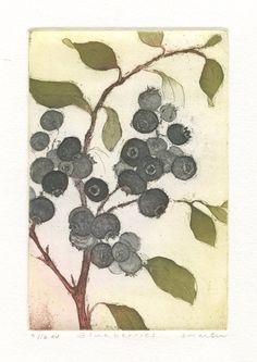Blueberries Original Fine Art Etching by stephaniemartinart