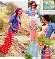 Denim shirt + Maxi Dress = So Chic. Maternity styles @ mychicbump.com