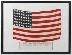 Lot 368: World War II 48-Star American Rayon Arm Flag; Framed under glass with historical inscription