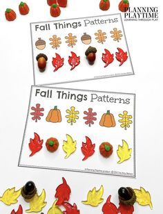 Copy the Fall Patterns and Try making your own. - Kindergarten Morning Tubs Kindergarten Age, Kindergarten Activities, Activities For Kids, Preschool, Kid Check, Fall Patterns, Learning Through Play, Autumn Theme, Make Your Own