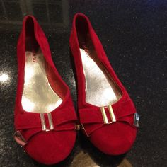 NWOT Shoes. Red suede. Bow on front. New condition. bamboo Shoes Flats & Loafers