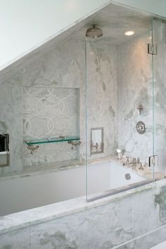 Niche: Large Niche With Marble Mosaic Back And Glass Shelf. Carol Reed  Design
