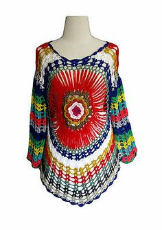 000575 THAI HANDMADE CROCHET BLOUSE DRESS BOHO WINTER KNITWEAR SHORT SUNDRESS